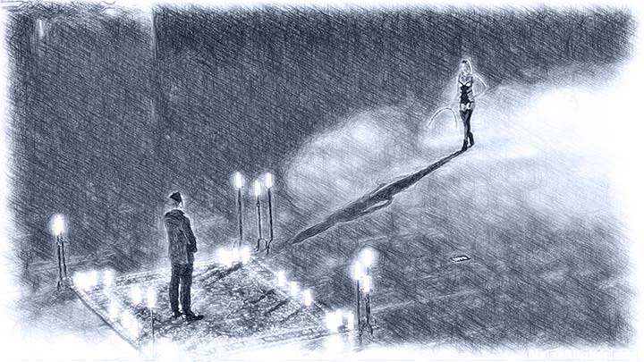 credit: screenshot on divinebitches.com | kink.com - Illustration by diener der shi